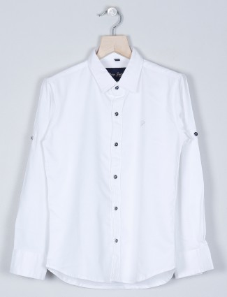 DNJS white solid style shirt for boys in cotton
