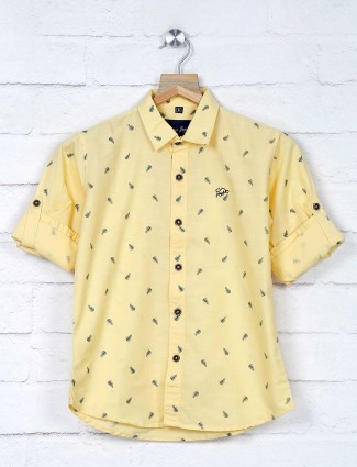 DNJS yellow printed cotton shirt