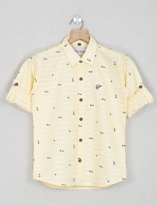 DNJS yellow printed slim fit shirt in cotton