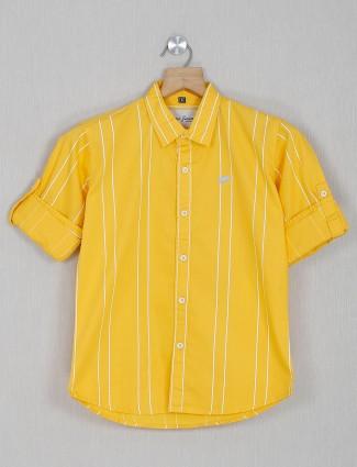 DNJS yellow stripe cotton casual shirt