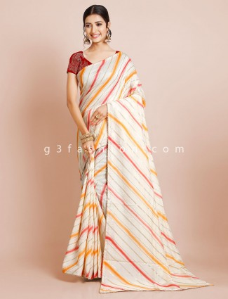 Dola cream saree for wedding wear