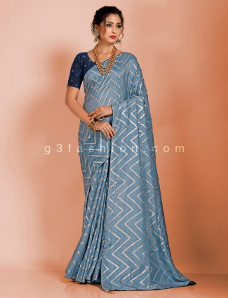 Dola silk leheriya zari weaving saree in grey