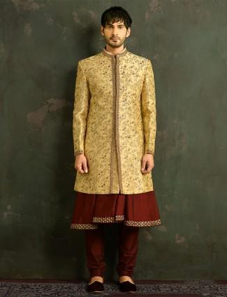 Double layer wedding wear cream sherwani of mens