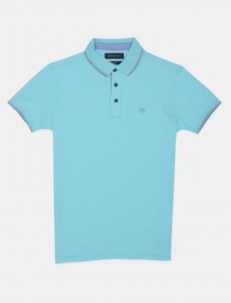 Dragon Hill aqua mens solid polo t-shirt