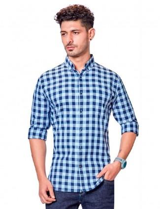 Dragon Hill blue checks slim fit mens shirt