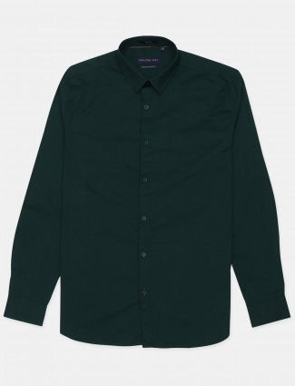 Dragon Hill bottle green solid casual wear shirt
