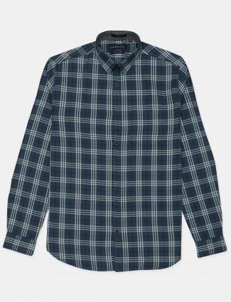 Dragon Hill cotton checks navy blue men shirt