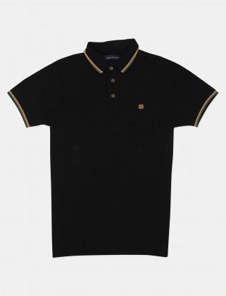 Dragon Hill cotton solid black polo t-shirt