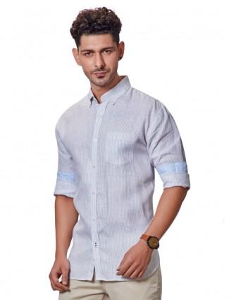 Dragon Hill linen stripe beige shirt