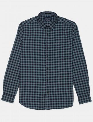 Dragon Hill navy blue checks cotton shirt