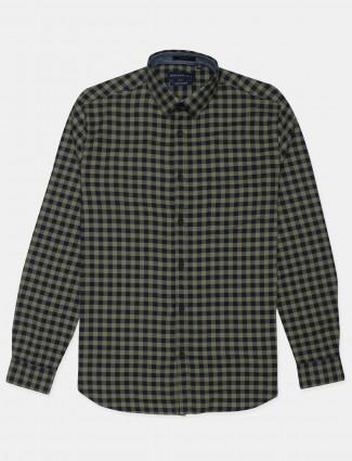 Dragon Hill olive green checks cotton shirt for men