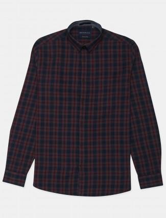 Dragon Hill present casual wear checks maroon cotton shirt