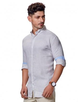 Dragon Hill pure linen small checks beige shirt