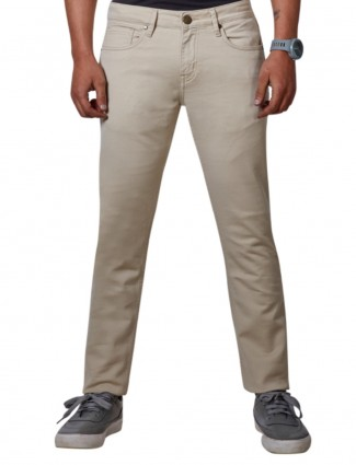 Dragon Hill simple look beige ankle length jeans