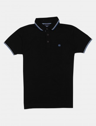 Dragon Hill solid black casual polo t-shirt