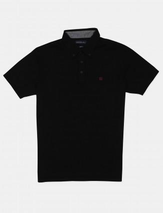 Dragon Hill solid black slim fit cotton polo t-shirt