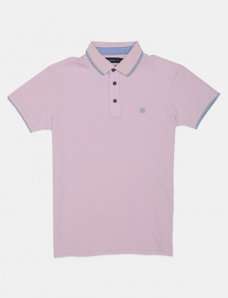 Dragon Hill solid pink polo t-shirt for men