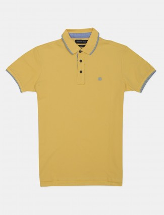 Dragon Hill solid yellow cotton casual polo t-shirt