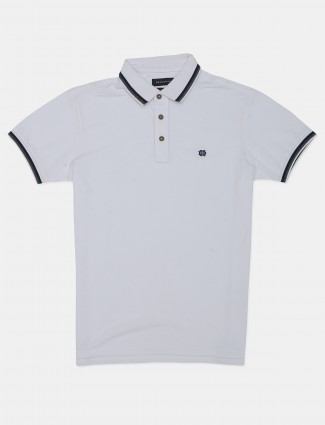 Dragon Hill white solid polo t-shirt