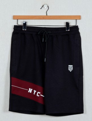 DXI black printed simple mens shorts