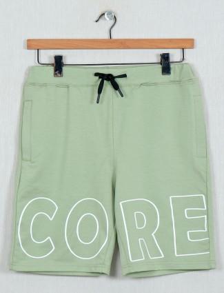 DXI cotton printed green shorts