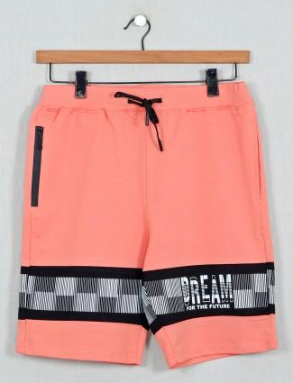 DXI cotton printed peach shorts