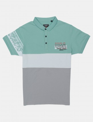 DXI grey and mint green printed slim fit cotton polo t-shirt