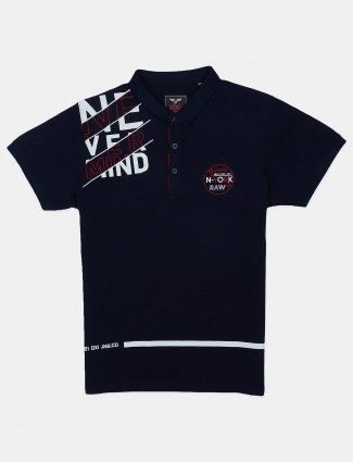 DXI navy printed cotton casual polo t-shirt