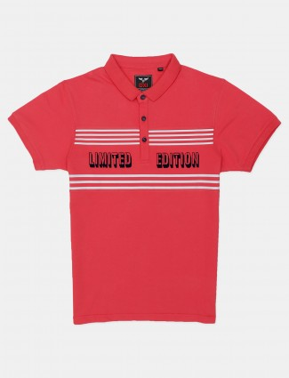 DXI printed pink casual polo t-shirt