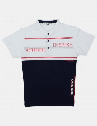 DXI printed white and navy half sleeve polo t-shirt