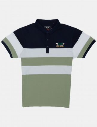 DXI stripe pattern navy and green polo casual t-shirt