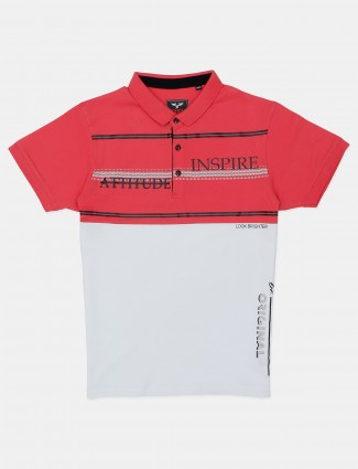 DXI white and pink printed cotton polo t-shirt