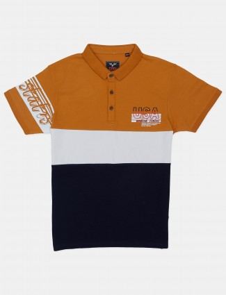 DXI yellow and navy printed cotton casual wear polo t-shirt