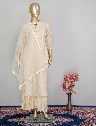Elegant beige hue silk palazzo suit for festive sessions