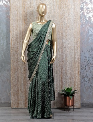 Elegant feel green ready to wear saree with readymade blouse