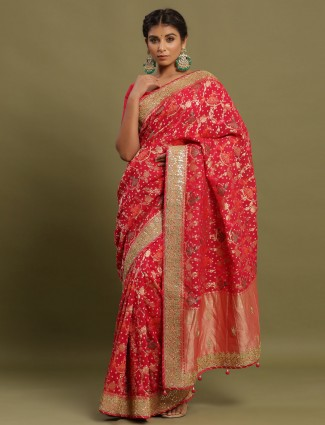 Elegant festive wear pink saree