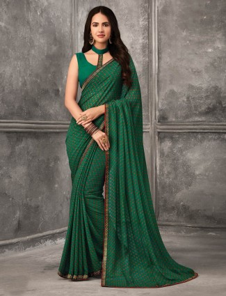 Elegant green georgette saree for festive occasions