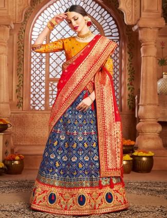 Elegant patola silk unstitched indigo blue wedding wear lehanga choli