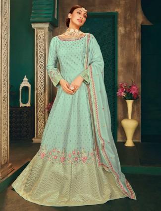 Elegant sky blue raw silk anarkali salwar suit for women