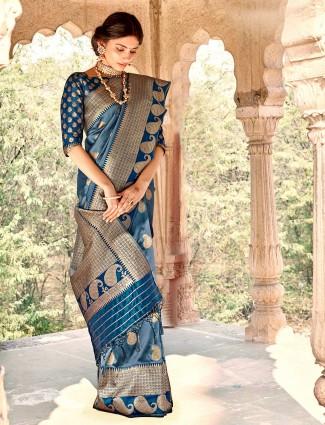 Elegant teal blue banarasi silk saree for wedding session