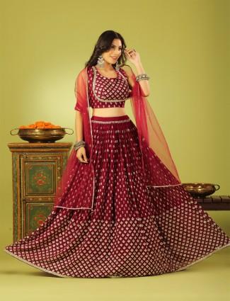 Elegant wedding style maroon hue lehenga choli in georgette