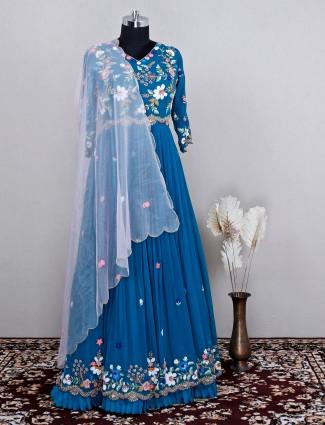 Elegant wedding wear blue hue anarkali suit for women