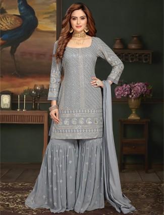 Embroidered grey georgette wedding wear punjabi sharara suit