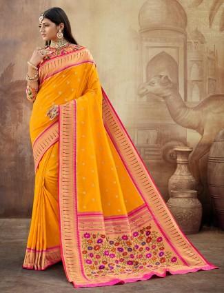 Eminent banarasi paithani silk wedding wear saree in yellow