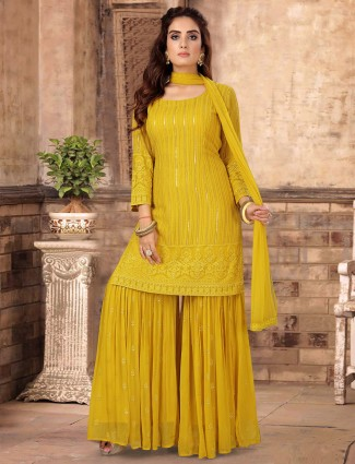 Eminent lime yellow georgette sharara suit