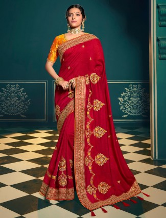 Enthralling red chinon chiffon saree