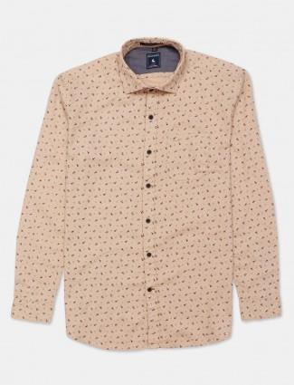 Eqiq beige printed cotton shirt