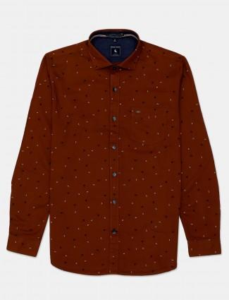 Eqiq brown printed casual mens shirt