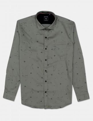 Eqiq green printed cotton mens shirt