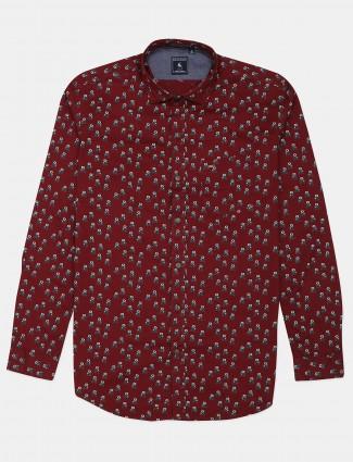 Eqiq maroon printed casual mens shirt